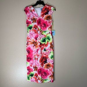NWT CeCe Vibrant Floral Print Pencil Dress